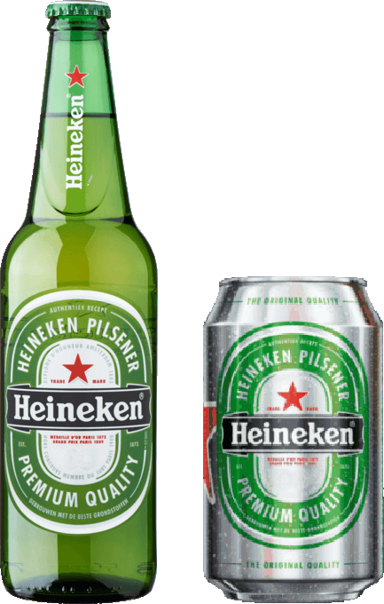 Heineken bottle and can
