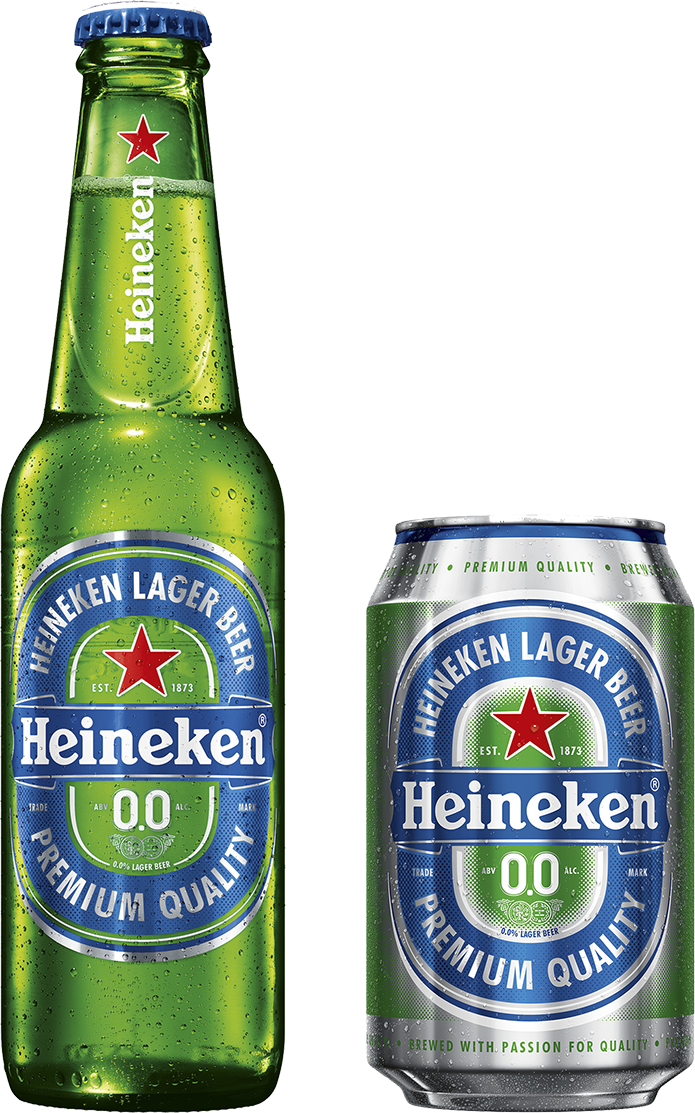 Heineken 0.0 bottle and can